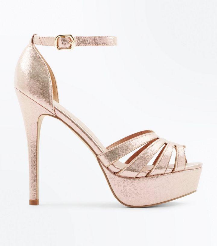 136cf1518da0f Gold Metallic Cut Out Strap Platform Stiletto Heels   New Look