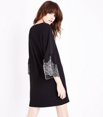 Black Embroidered Bell Sleeve Tunic Dress New Look