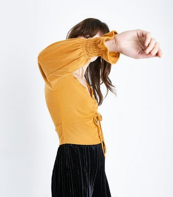 Mustard Yellow Ruched Front Crop Top New Look