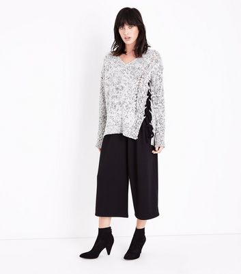 QED Grey Marl Lattice Lace Up Asymmetric Jumper New Look