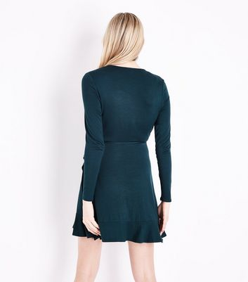 Dark Green Frill Trim Jersey Wrap Dress New Look