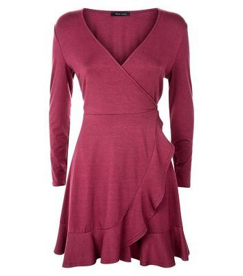 Dark Red Frill Trim Jersey Wrap Dress New Look
