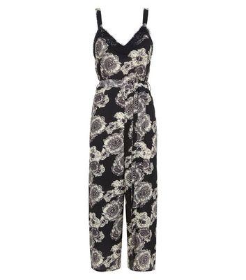 Black Floral Lace Trim Culotte Jumpsuit New Look