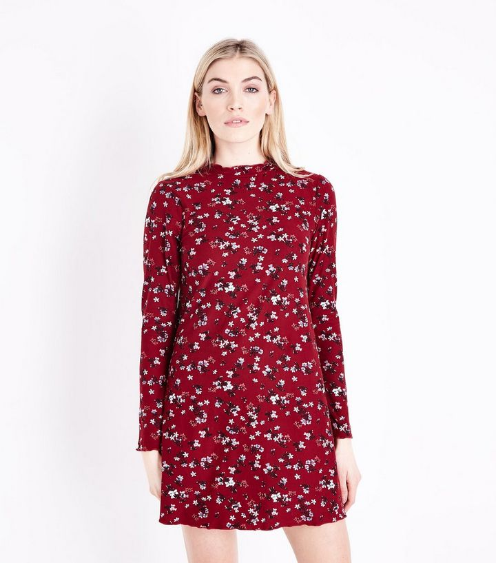 580d40cf8e5 Red Floral Print Long Sleeve Dress | New Look