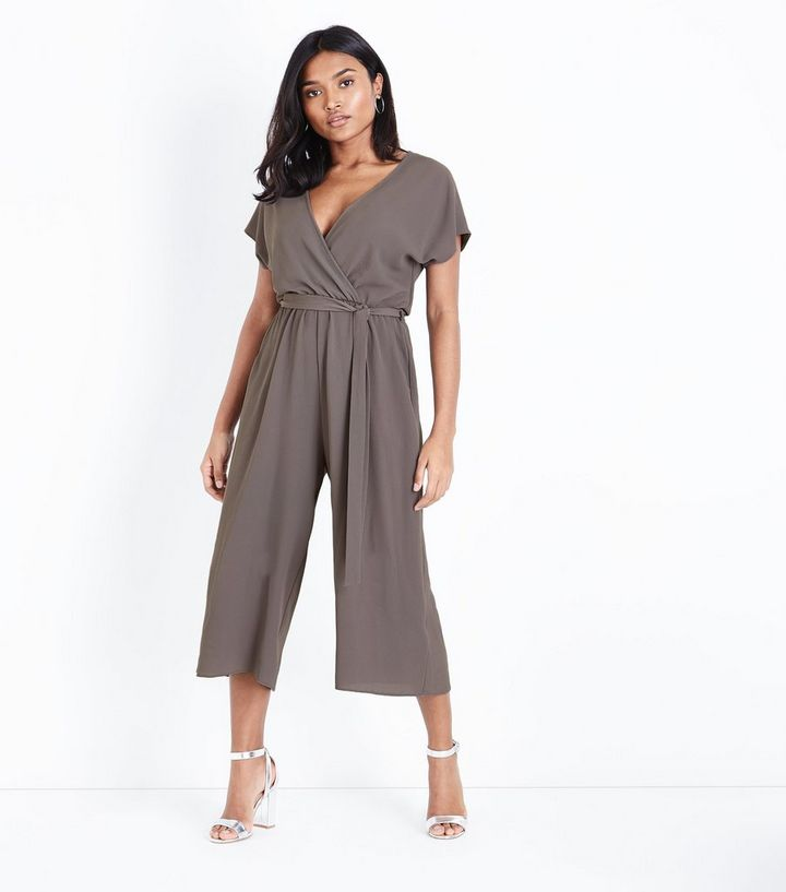 new forefront of the times lace up in Petite Grey Wrap Front Belted Culotte Jumpsuit Add to Saved Items Remove  from Saved Items