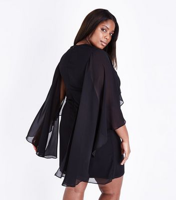 Mela Curves Black Diamante Embellished Kimono Sleeve Dress New Look