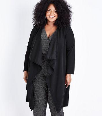 Mela Curves Black Longline Waterfall Jacket New Look