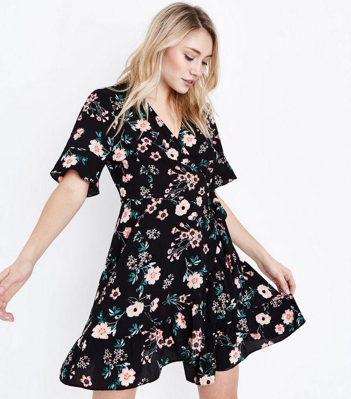 2f55b564e463a Petite Black Floral Print Bell Sleeve Wrap Dress | New Look