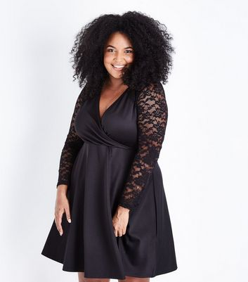 Mela Curves Black Lace Sleeve Wrap Front Dress