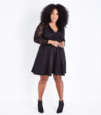 Mela Curves Black Lace Sleeve Wrap Front Dress New Look