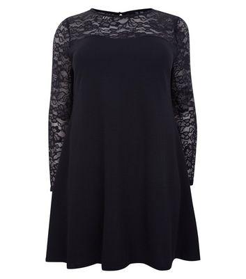 Mela Curves Black Lace Yoke and Sleeve Dress New Look