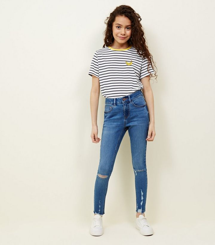 df1ebb4adfc Girls Blue Light Wash Ripped Skinny Jeans | New Look