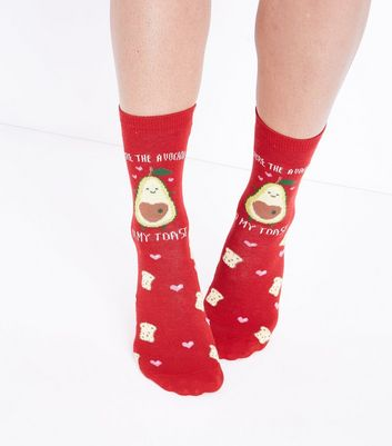 Red Avocado And Toast Slogan Socks New Look