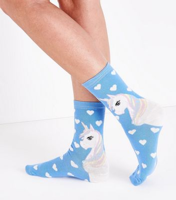 Pale Blue Unicorn Heart Socks New Look