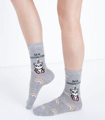Grey Pandacorn Slogan Socks New Look