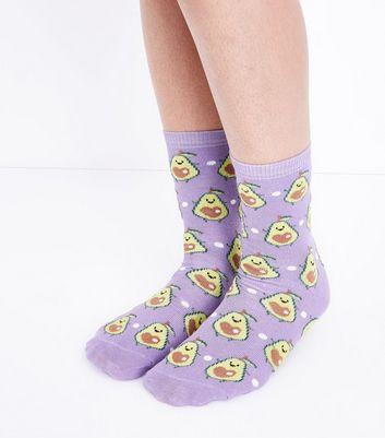 Lilac Avocado Socks New Look