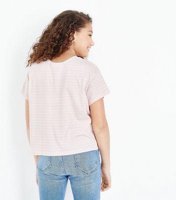 Teens Pink Stripe Lattice Front T-Shirt New Look