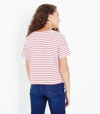 Teens White Contrast Stripe Floral Applique T-Shirt New Look