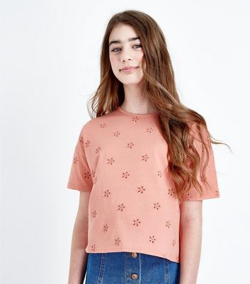 Girls Orange Floral Embroidered T-Shirt