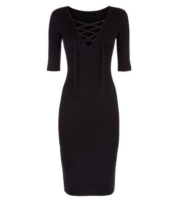 Apricot Black Lace Up Ribbed Bodycon Dress New Look