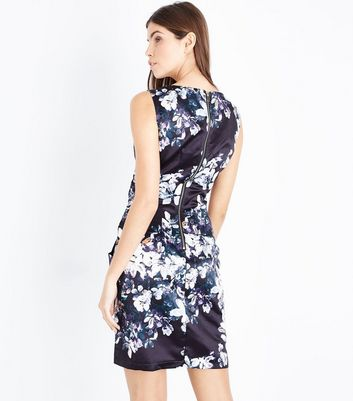 Apricot Black Floral Print Tulip Dress New Look