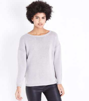 Apricot Grey Glitter Oversized Jumper New Look