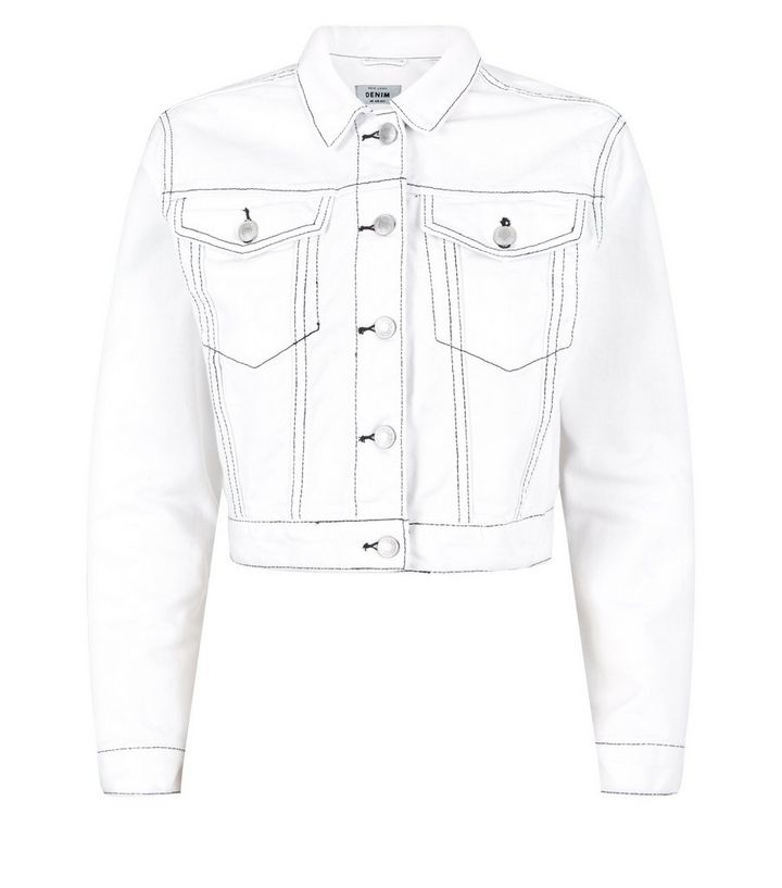 2d23a2be61d ... White Contrast Stitch Cropped Denim Jacket. ×. ×. ×. Shop the look