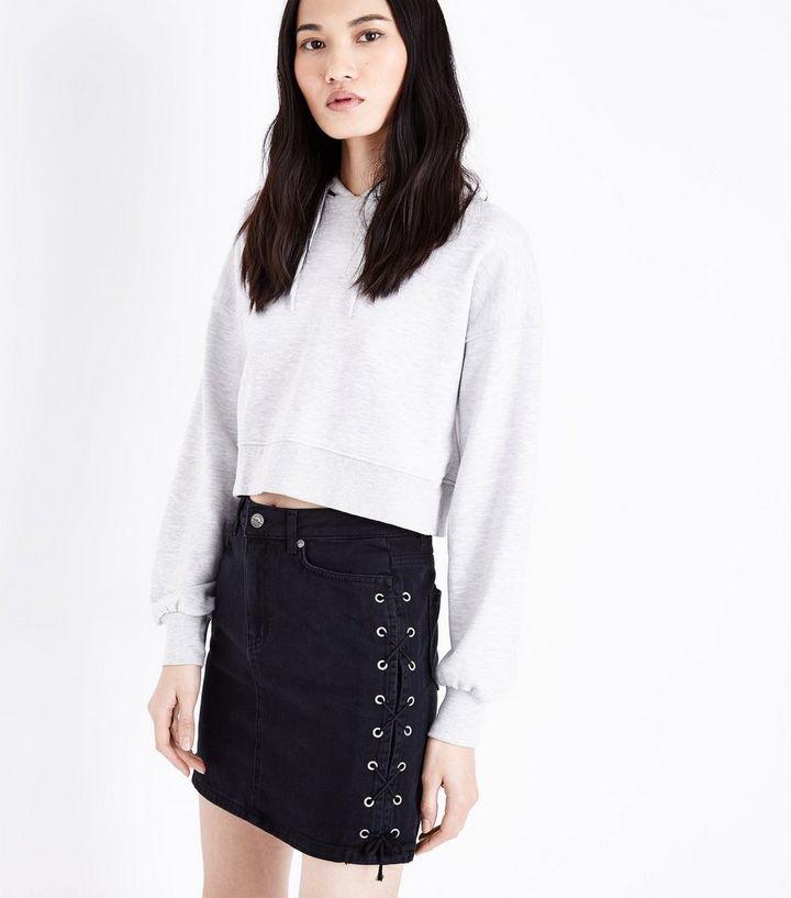 831f5afea3 Black Lace Up Side Denim Skirt | New Look