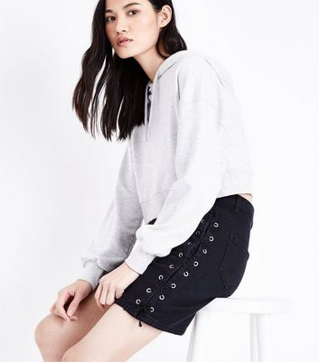 Black Lace Up Side Denim Skirt New Look