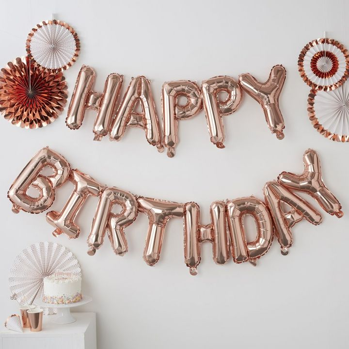 Rose Gold Happy Birthday Balloon Bunting X Shop The Look
