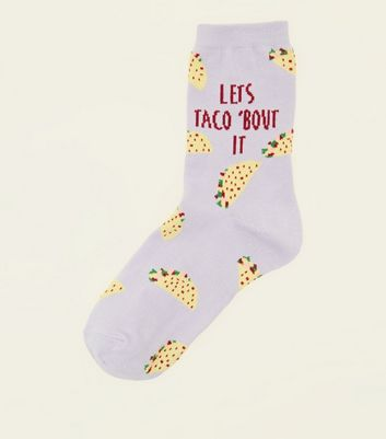Lilac Let's Taco Bout It Slogan Socks