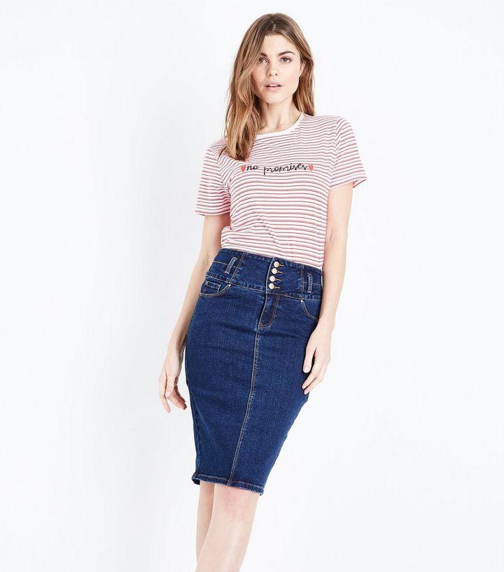 987960fc4 Blue High Waist Denim Pencil Skirt | New Look