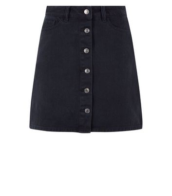 Black Button Front Denim Mini Skirt New Look