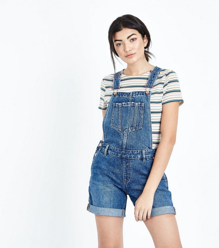 a7a8bc354 Blue Relaxed Fit Denim Short Dungarees | New Look