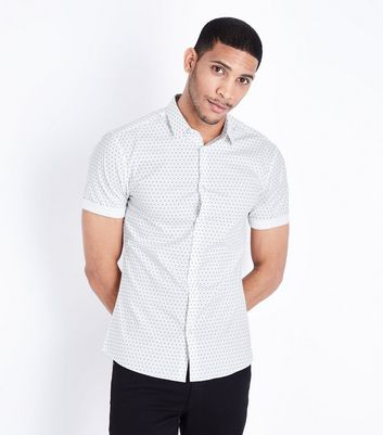 White Polka Dot Muscle Fit Poplin Shirt