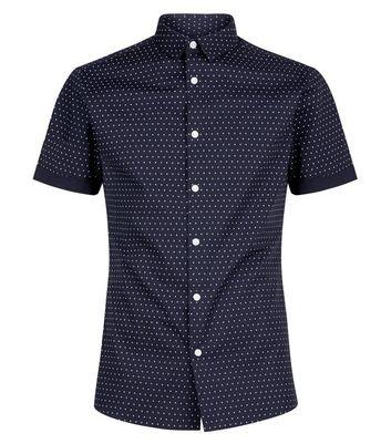 eed60323 Navy Polka Dot Muscle Fit Poplin Shirt New Look - £10.00 - Bullring & Grand  Central