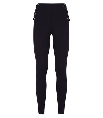 Black Eyelet Lace Up High Waist Leggings New Look
