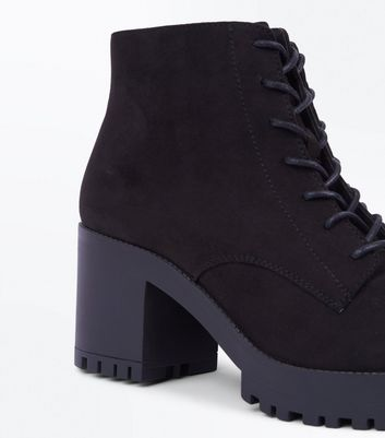 Black Suedette Chunky Cleated Sole Lace Up Boots New Look