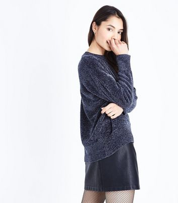 Dark Grey Chenille Oversized Jumper New Look