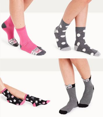 4 Pack Black Cat Socks New Look