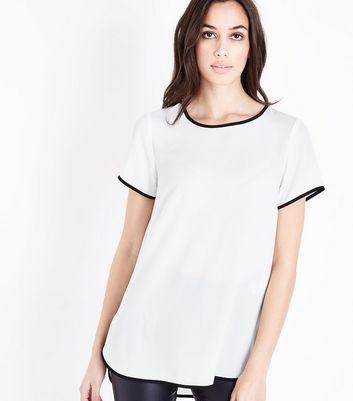 Off White Contrast Trim Step Hem Top New Look