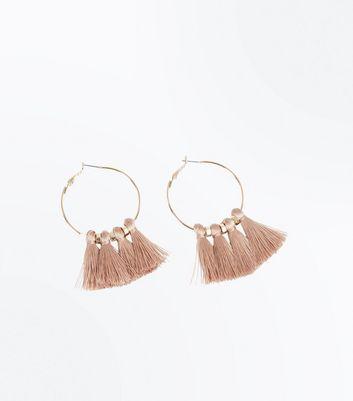 Rose Gold Tassel Hoop Earrings New Look