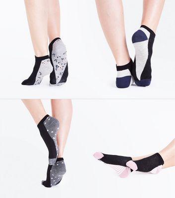 4 Pack Geometric Floral Print Socks New Look