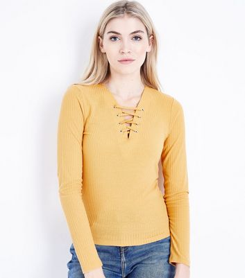 Tall Mustard Yellow Lace Up Neck Ribbed Top New Look