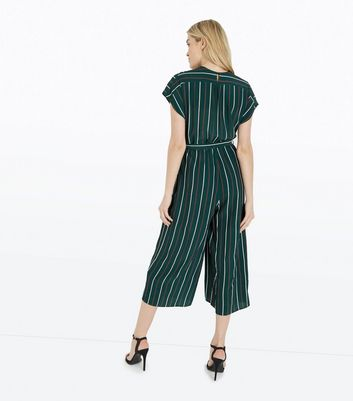 Tall Green Stripe Wrap Front Culotte Jumpsuit New Look