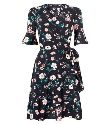 Tall Black Floral Print Bell Sleeve Wrap Dress New Look