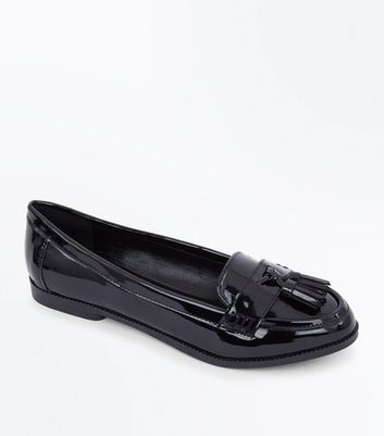 1646bbb0644 NEW LOOK. WIDE FIT BLACK PATENT TASSEL LOAFERS