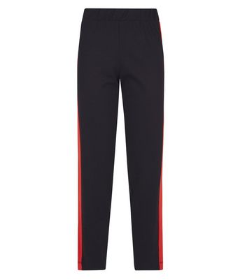 Black Side Stripe Straight Leg Joggers New Look