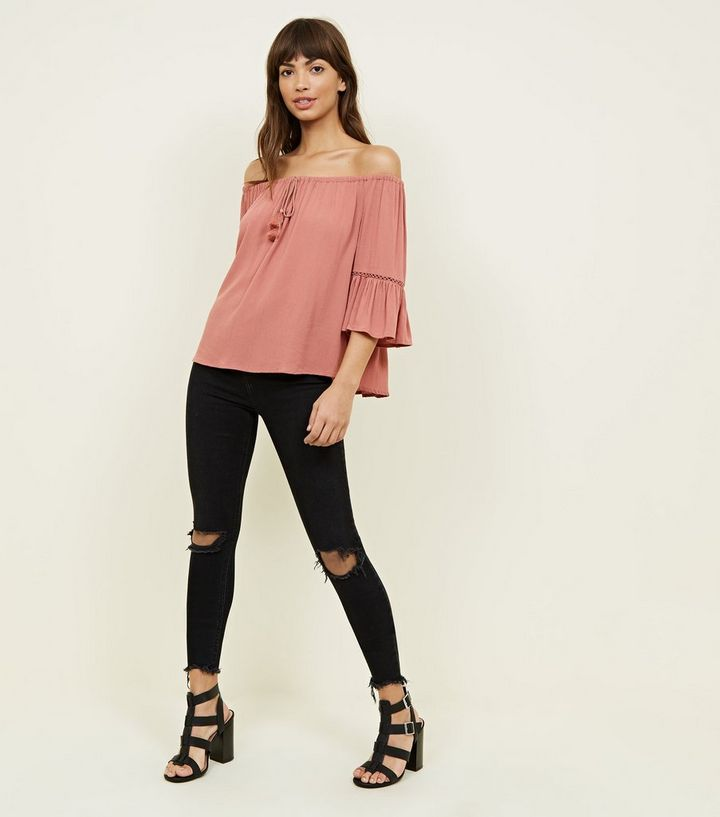 d76cd616fb5d3 ... Coral Tassel Front Bell Sleeve Bardot Top. ×. ×. ×. Shop the look
