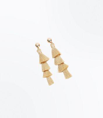 Gold Tiered Tassel Earrings New Look